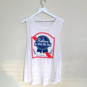 PBR   Rather Be With My Dog White Muscle Tank XL